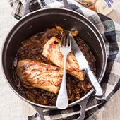 filet mignon au miel de châtaignier, sauce yakitori, oignons, pommes de terre, vinaigre, abricots secs, huile d'olive et beurre