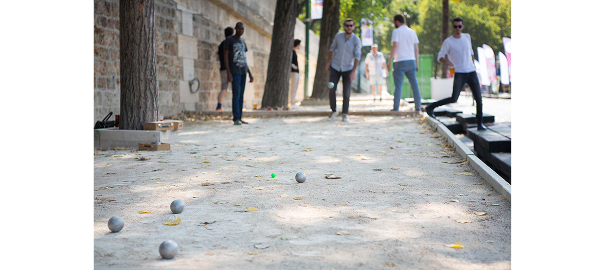 Paris Plages, pétanque au parc Rives de Seine