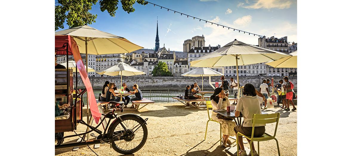 Paris Plages, restaurant écoresponsable vue sur Notre-Dame