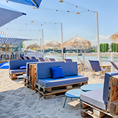 Polpo beach with Fine sand, parasols and deck chairs  located in Levallois-Peret near Paris