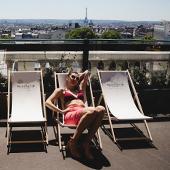 deckchairs on the Solarium Hotel Rooftop