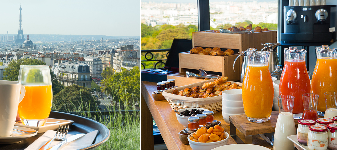 Brunch avec jus d'orange, viennoiseries, céréales, oeufs à Terrass' shop à Paris