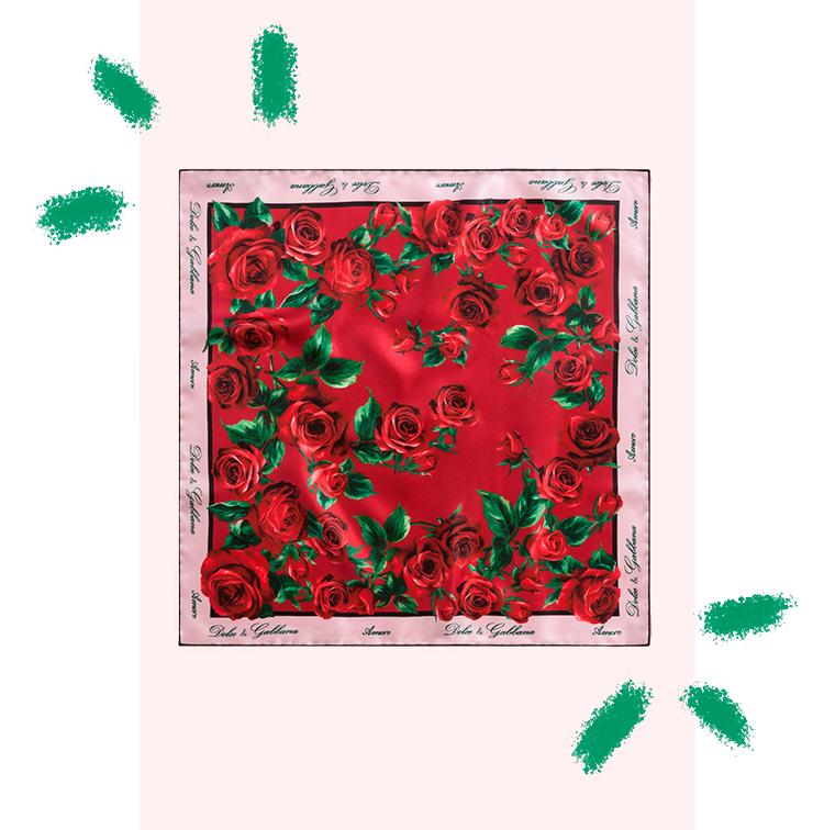 Carré de soie imprimé fleuri