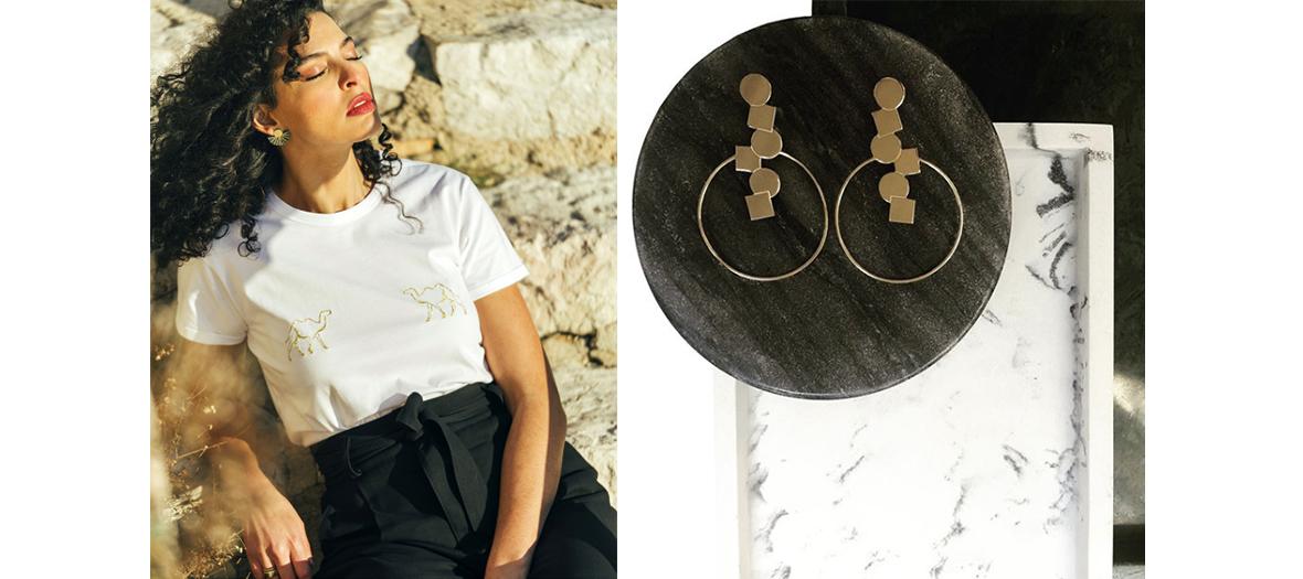 """les bijoux dorés de Calepinage et les t-shirts libanais à imprimé """"Amour""""  de Boshies et Bahhar de Sofya Benzakour"""