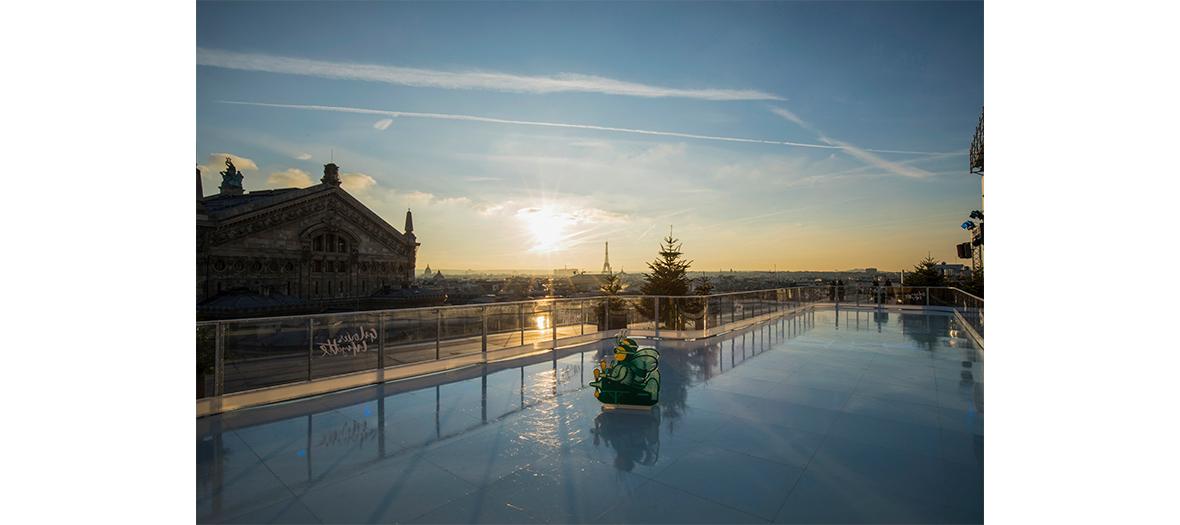 patinoire roof top sur le toit des galeries Lafayette