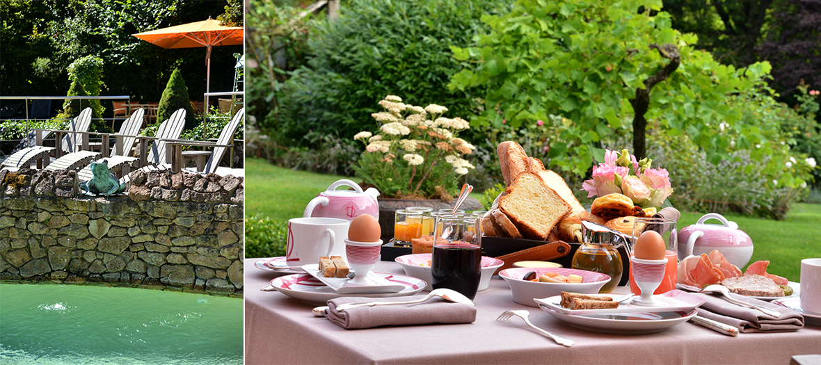 Breakfast and swimming pool in the garden of Relais Bernard Loiseau in France