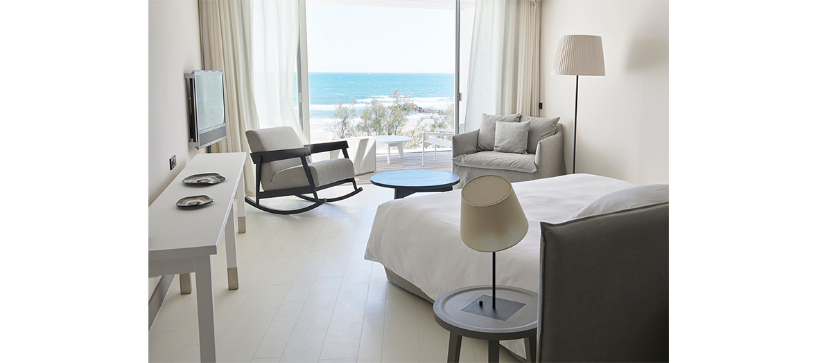 Costes standard hotel bedroom with beach view
