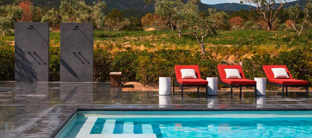 A large pool surrounded by vineyards at the Ultimate Provence hotel
