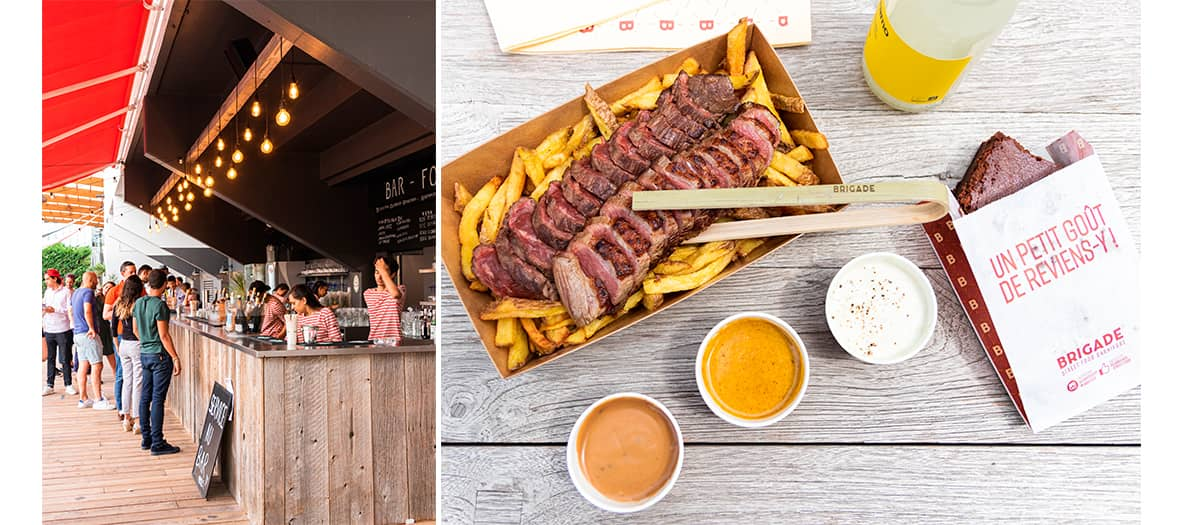 Plates of grilled meats and fries by La Brigade at Trinquet Village