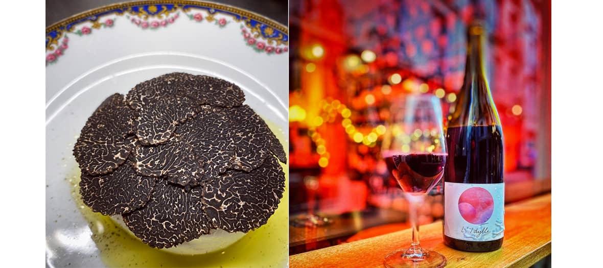 Burrata and black truffle at Augustin winebar in Paris