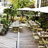 Decoration of the terrace of the bar La Maison Champs Elysee
