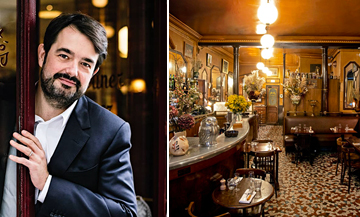 Portrait of Jean-François Piège and the decoration of the L'Epi D'Or bistro