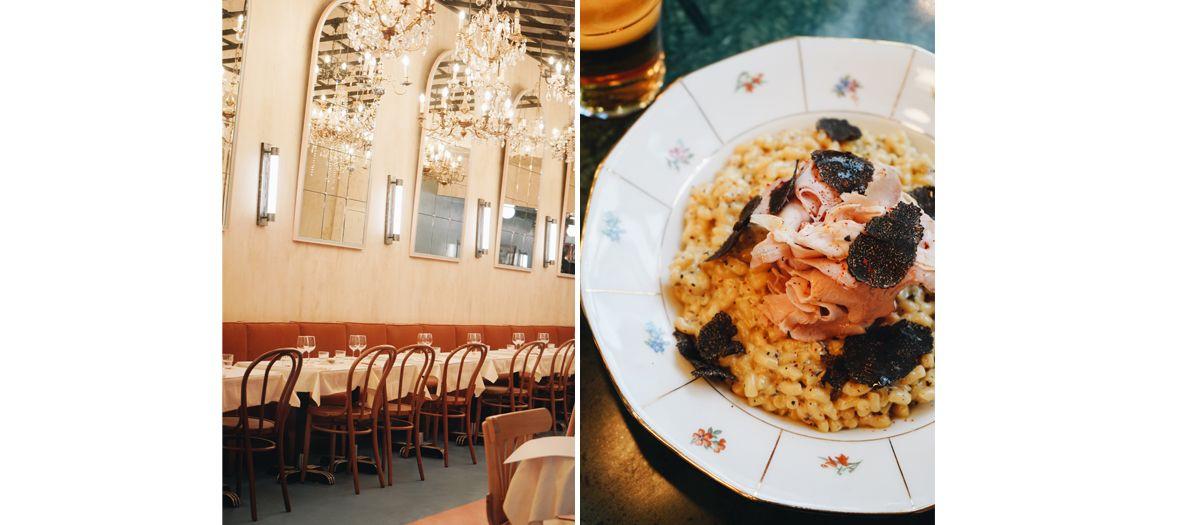 Décoration de la salle et coquillettes jambon-truffe de la Brasserie Rosie