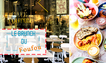 Le Cafe Foufou with  avocado or beet on toast, with or without gluten, scones, cake of the day, fluffy pancakes with fresh fruits and maple syrup, French toast, egg and salmon or bagels, chia pudding with coconut milk (€6), white omelet, sparkling kéfir (€6) and bowl of the day