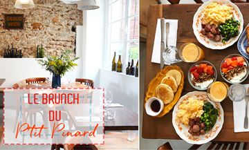 Brunch of Le Ptit Pinard with bread, butter, jams combo, scrambled eggs or houmous, delicious gravlax salmon, a terrific sausage, fluffy pancakes or killer French toast, bowl of farmer cheese and granola along with beverages including coffee, tea or a house hot chocolate and freshly squeezed orange juice