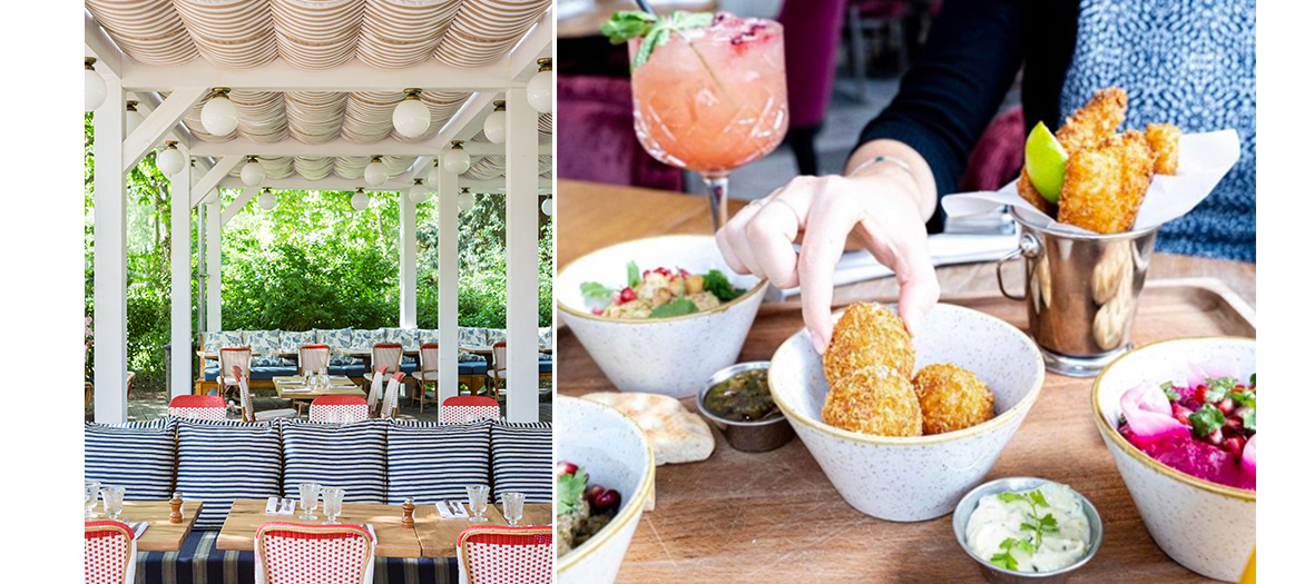 The brunch of L'Ile with nuggets of roasted pork with a chimichurri sauce, an amazing burrata, braised beets with cream of feta cheese, strawberries-chantilly and litchi spritz.