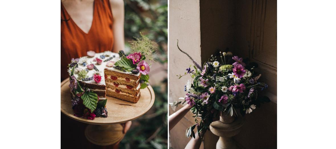 Bouquet de fleurs de saison champêtre et gateau à la cerise au coffee-shop Peonies Paris