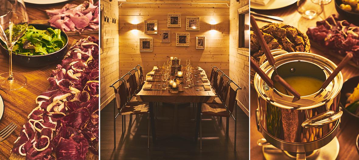 Décoration de salle et fondue suisse, fruits et légumes crus et cuits et pommes de terre du Chalet Hublot