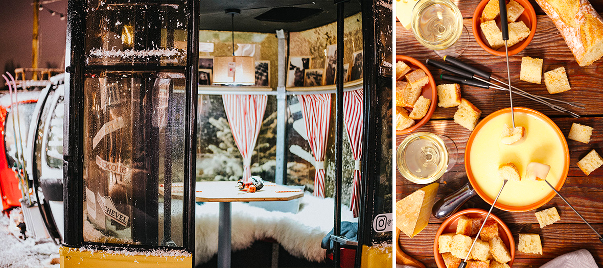 chamallows grillés, fondue Savoyarde et Décoration du Bistrot Mourchevel