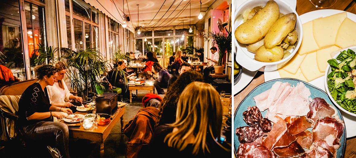 Ambiance intérieur et Raclette avec pommes de terre et charcuteries  du perchoir Pavillon Puebla
