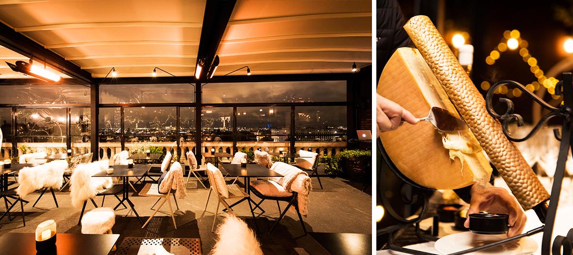 Décoration de la terrasse et Raclette escorté d'une assiette de charcuteries de restaurant Terrass-Hotel