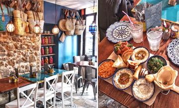 Décoration avec des théières, pochettes, savon d'Alep, paniers en osier, sirops de rose et Plat d'arayes, falafels, mezzés végétariens du restaurant L'Artisan Libanais