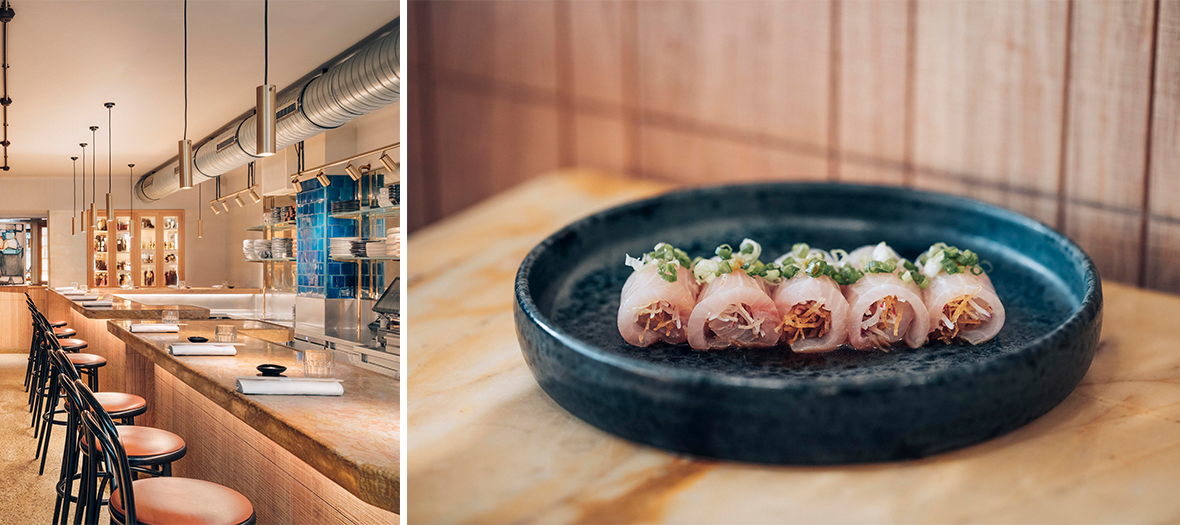 Salmon sashimi or yellow tail dish and interior atmosphere of the Bar des Prés
