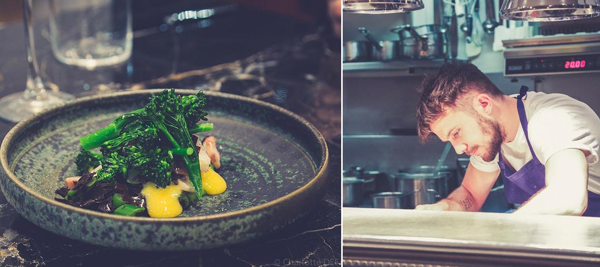 Thibault Loubersanes préparant Betterave crème crue algue dulse