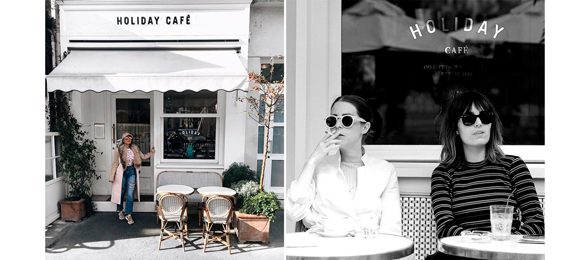 Lolita Jacobs and Vanessa Pinoncely having a coffee on the terrace of the Holiday Café