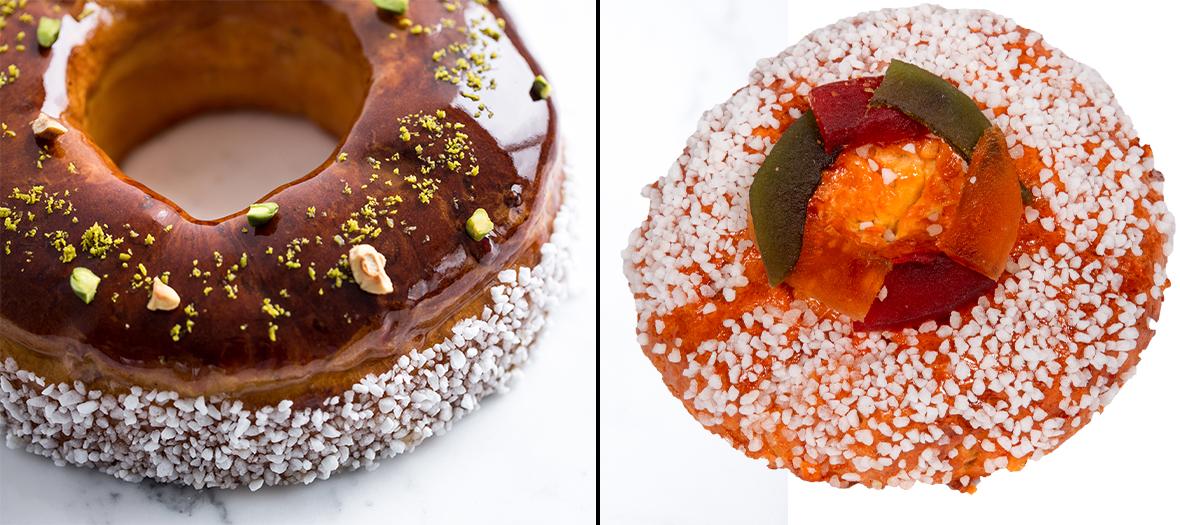 gâteau des Rois et brioche provençale parfumée à la fleur d'oranger et piquées de pistaches, fruits confits et zestes d'orange  de Cyril Lignac