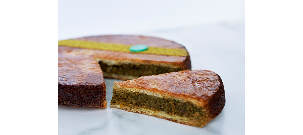 Galette with three bewitching off-shoots: alva sesame, orange blossom and pistachio from Iran  from Maison Aleph