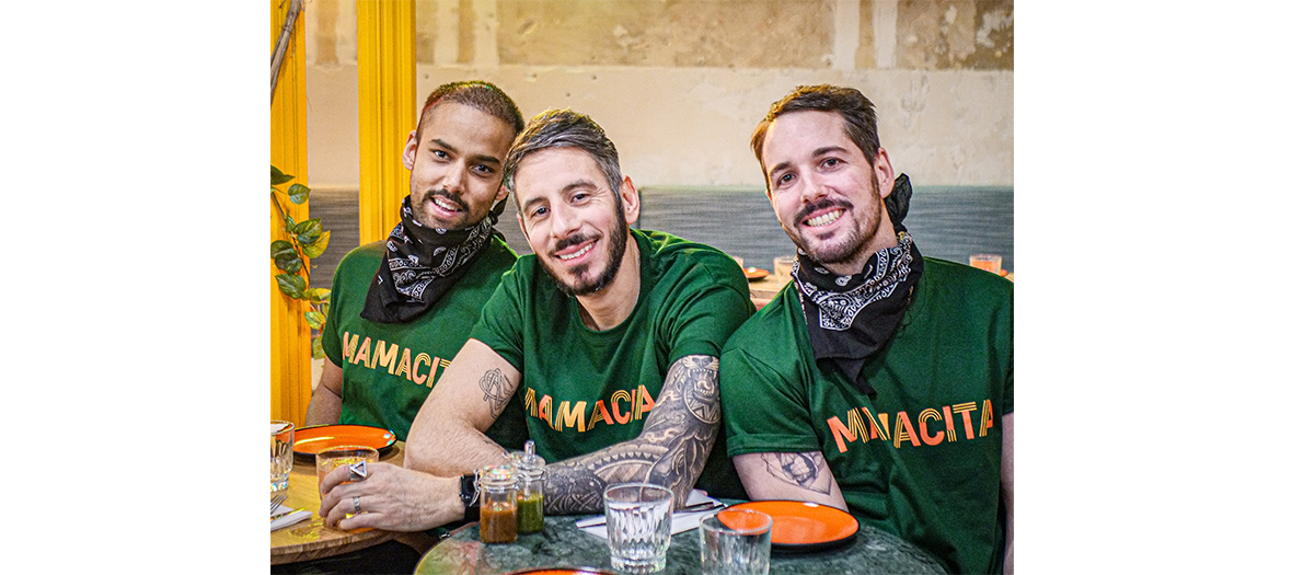 François, Franck and Thomas both the 3 founders of the Tacos bar Mamacita in Paris