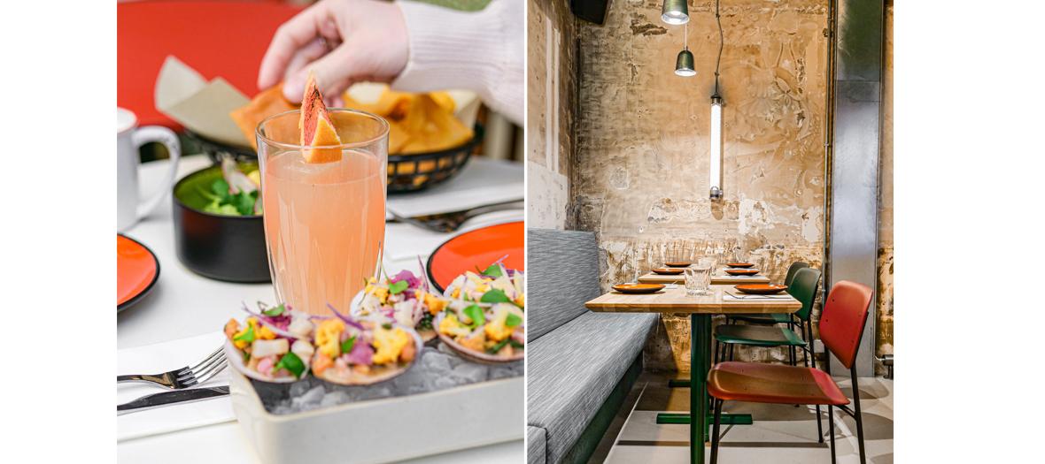 house tortillas, guacamole twisted with mango, cheesy quesadillas, raw sea almonds pimped with grapefruit and leche de tigre at Mamacita in Paris