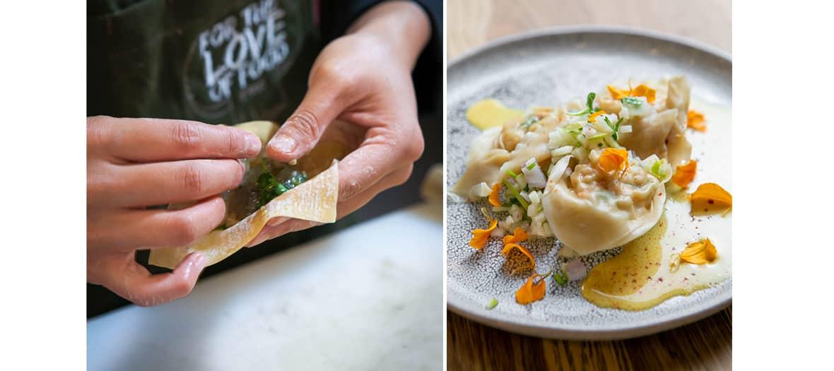 La chef Joséphine Thai avec ses wontons crevette au restaurant For the Love of Food.