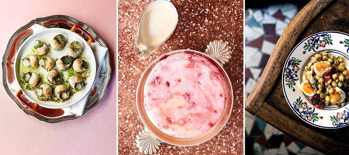Livraison des plats de l'Epis d'or et de La Poule au Pot comme les escargots de bourgogne, l'ile flottante aux pralines roses de Jean François Piège