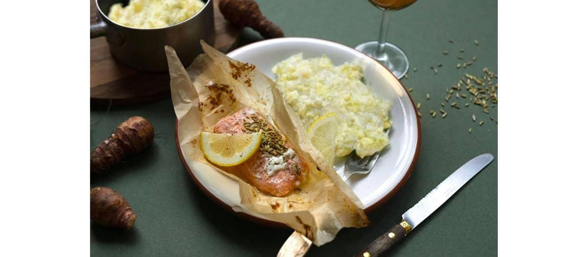 Papillote de saumon aux graines de fenouil moulues, risotto au chou vert et parmesan, parmentier au potimarron