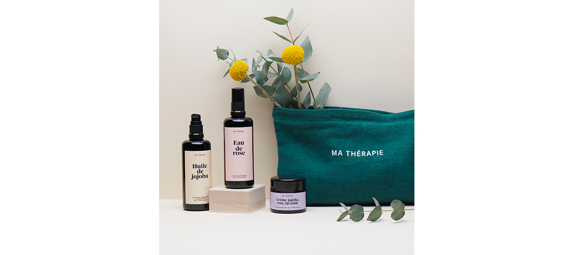Mathetherapy products with jojoba oil, rose water and jojoba cream, rose, lavender