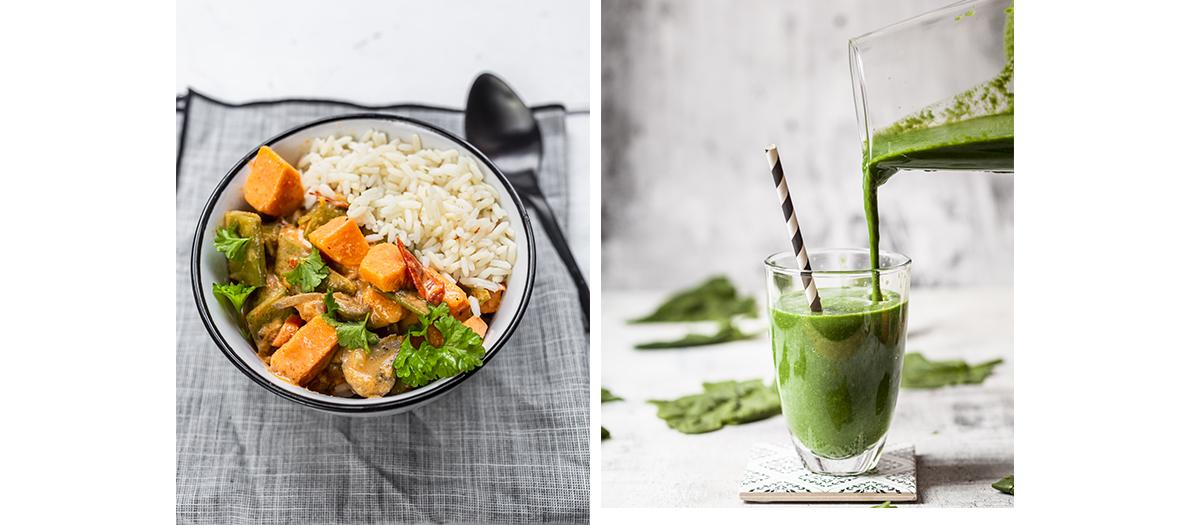 Un smoothie vert à préparer 20 minutes avant de le déguster pour le petit déjeuner et Un curry végétarien pour le dîner.