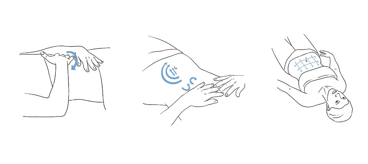 Les positions à adopter pour l'auto-massage du ventre gonflé