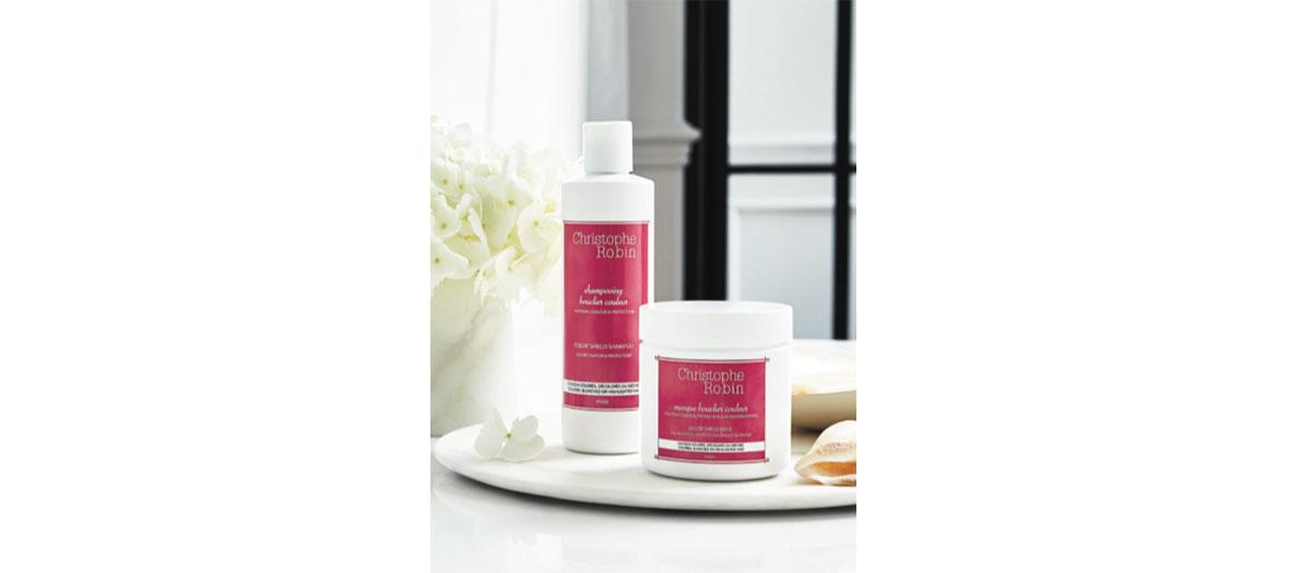 Shampoing bouclier couleur 250 ml, 28 € et Masque bouclier couleur 250ml, 32 €