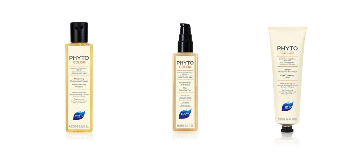 Phytocolor shampoing protecteur de couleur, Phyto Paris, 7,90 €, Phytocolor masque protecteur couleur, Phyto Paris, 19,90 € et Phytocolor spray activateur de brillance, Phyto Paris, 19,90 €