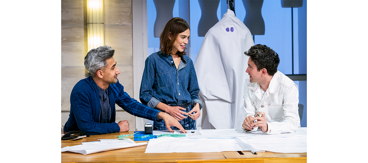 Alexa Chung, Tan France et Daniel Fletcher dans son atelier Next in Fashion