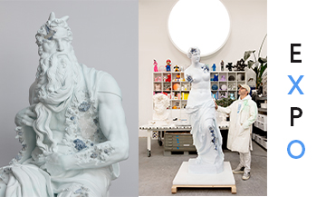 Daniel Arsham and his sculptures Eroded Moses and Venus de Milo at Galerie Perrotin