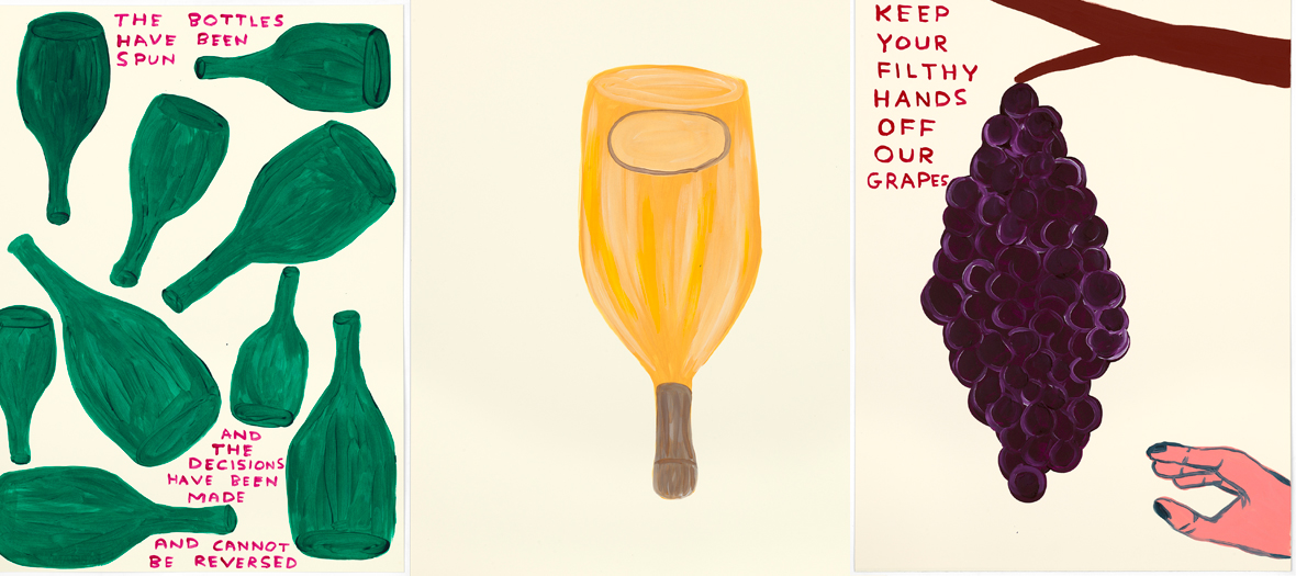 These three works reflect David Shrigley vision on the elaboration of Ruinart Champagne