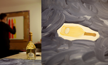 David Shrigley, on the left, works reflecting the artist's vision on the elaboration of Ruinart Champagne