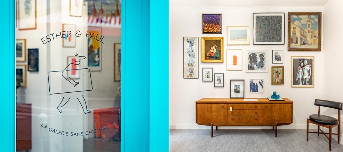 Décoration de la gallerie Esther Et Paul avec tableaux colorés aux murs