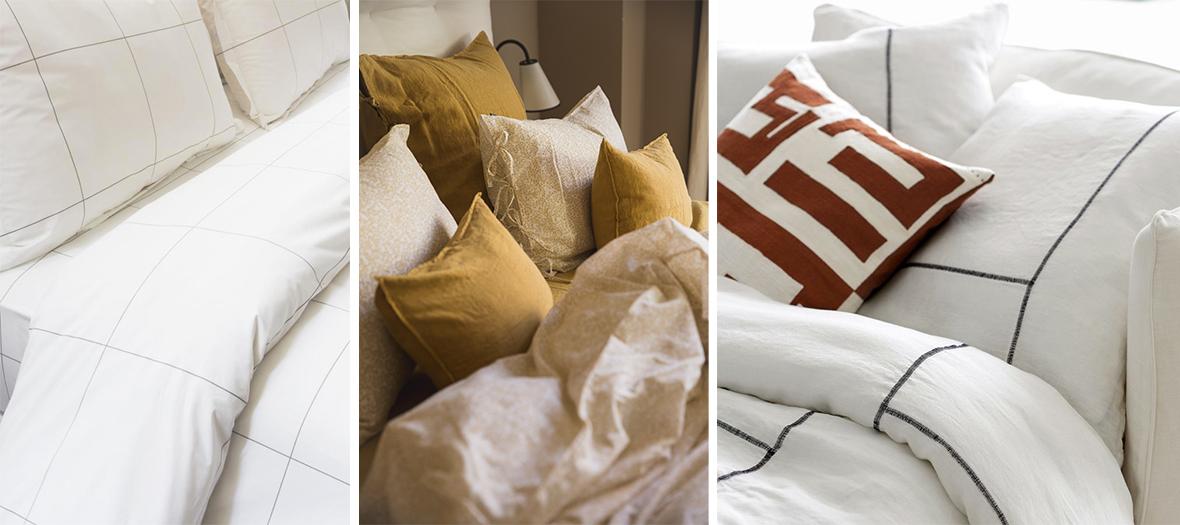 Parures à motifs graphiques à carreaux, housse de couette en percale de coton, tapis, les rideaux, les coussins