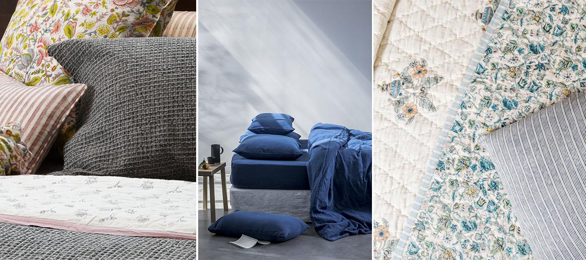 Parures de lits aux motifs fleuris, foisonnants et bleue intense en satin, percale, lin sur les eshop  inka-india et lachambreparis