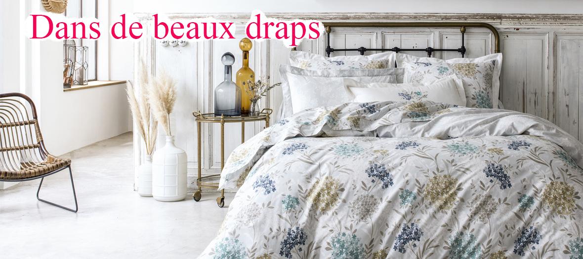 Draps de Lit à motifs fleuris en coton, percale et lin