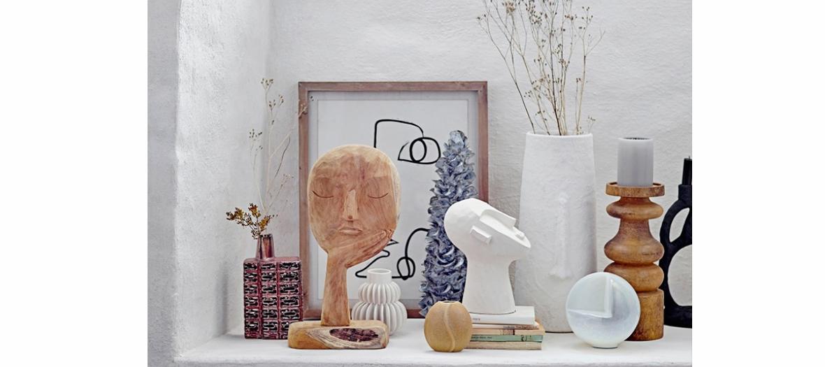 Sculptures en bois recyclé, paniers décorés en jute, chaises en rotin et déco en bambou Bloomingville